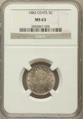 Liberty Nickels: , 1883 5C With Cents MS63 NGC. NGC Census: (156/499). PCGS Population(270/549). Mintage: 16,032,983. Numismedia Wsl. Price f...
