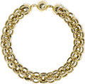 Estate Jewelry:Necklaces, Gold Necklace. The 18k yellow gold necklace is comprised ofinterlocking openwork ball form links, completed by a ball for...