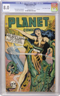 "Golden Age (1938-1955):Science Fiction, Planet Comics #51 Davis Crippen (""D"" Copy) pedigree (Fiction House,1947) CGC VF 8.0 Off-white to white pages. Covers with a..."
