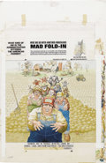 "Original Comic Art:Covers, Al Jaffee - Mad #266 Fold-In Back Cover Original Art (EC, 1986). AlJaffee's fold-in asks ""What kind of aid is the Administr..."