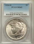 Peace Dollars: , 1934-D $1 MS62 PCGS. PCGS Population (1040/3232). NGC Census:(850/2201). Mintage: 1,569,500. Numismedia Wsl. Price for pro...
