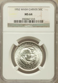 Commemorative Silver: , 1952 50C Washington-Carver MS64 NGC. NGC Census: (1564/1577). PCGS Population (2205/1537). Mintage: 2,006,292. Numismedia W...