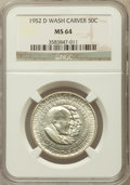 Commemorative Silver: , 1952-D 50C Washington-Carver MS64 NGC. NGC Census: (213/227). PCGS Population (486/343). Mintage: 8,006. Numismedia Wsl. Pr...