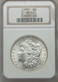 Morgan Dollars: , 1899 $1 MS64 NGC. NGC Census: (2829/670). PCGS Population(3709/1315). Mintage: 330,846. Numismedia Wsl. Price for problem...