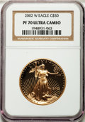 Modern Bullion Coins, 2002-W G$50 One-Ounce Gold Eagle PR70 Ultra Cameo NGC. NGC Census: (656). PCGS Population (172). Numismedia Wsl. Price for...