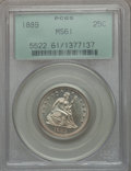 Seated Quarters: , 1889 25C MS61 PCGS. PCGS Population (4/177). NGC Census: (0/157).Mintage: 12,000. Numismedia Wsl. Price for problem free N...