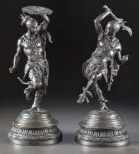A PAIR OF ORIENTALIST PATINATED BRONZE FIGURES OF WARRIORS 20th century 15-5/8 inches high (39.7 cm) (taller)