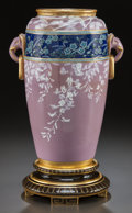 Decorative Arts, Continental, A MINTON PORCELAIN VASE WITH PATE-SUR-PATE DECORATION . Circa 1873.Marks: MINTONS, (date mark). 11-1/2 inches high (29....