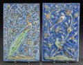 Paintings, TWO PERSIAN PAINTED AND GLAZED CERAMIC TILES. 20th century. 14-3/4 inches high x 9-1/4 inches wide (37.5 x 23.5 cm). ... (Total: 2 Items)