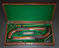 A CASED PAIR OF SHARPE FLINTLOCK DUELING PISTOLS  .62 caliber, 9-inch barrels each marked: EXTRA / SHARPE /