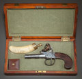 American, A CASED W. KETLAND & CO. BOXLOCK FLINTLOCK MUFF PISTOL. .44caliber, 2 ¼-inch screwbarrel. English proofs. Boxlock action,...(Total: 2 Items)