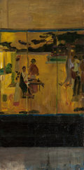 Fine Art - Painting, American:Antique  (Pre 1900), AMERICAN SCHOOL (Late 19th/Early 20th Century). Study of aJapanese Screen. Oil on canvas. 24 x 12 inches (61.0 x 30.5c...