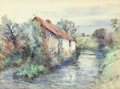 Works on Paper, FREDERIC CHARLES VIPOND EDE (American, 1865-1907). Landscape with Cottage. Watercolor on paper. 11-1/2 x 15-1/2 inches (...