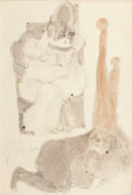 Latin American:Contemporary, MEXICAN SCHOOL (20th Century). Two Figures. Pencil andwatercolor on paper. 14-3/4 x 10-1/4 inches (37.5 x 26.0 cm)(sig...
