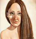 Fine Art - Painting, American:Contemporary   (1950 to present)  , NANCY GLAZIER (American, b. 1947). Portrait of a YoungWoman. Oil on masonite. 16 x 14-3/4 inches (40.6 x 37.5 cm).Sign...
