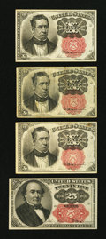 Fractional Currency:Fifth Issue, Four Fractional Notes Very Good or better.. ... (Total: 4 notes)