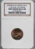 Errors, 1938 5C Jefferson Nickel--Struck on a Cent Blank--MS63 Red and Brown NGC. 3.05 Grams....