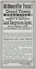 "Advertising:Paper Items, [Texas Emigration]. Broadside: ""All Aboard for Texas!,"" circa 1870. ..."