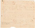 Autographs:Military Figures, [Perote Prison]. Robert Addison Gillespie Document Signed ...