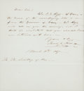 "Autographs:U.S. Presidents, [John Coffee ""Jack"" Hays]. James K. Polk Autograph Letter Signed. ..."