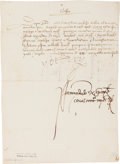 Autographs:Non-American, Charles V of Spain Document Signed....