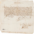 Autographs:Non-American, Isabella I and Ferdinand V Document Signed....