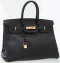 Luxury Accessories:Bags, Hermes 35cm Black Ardennes Leather Birkin Bag with Gold Hardware....