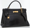 Luxury Accessories:Bags, Hermes 32cm Black Calf Box Leather Kelly Bag with Gold Hardware ....