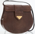 Luxury Accessories:Bags, Yves Saint Laurent Brown Lizard Clutch Bag with Removable Shoulder Strap. ...