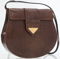 Yves Saint Laurent Brown Lizard Clutch Bag with Removable Shoulder Strap