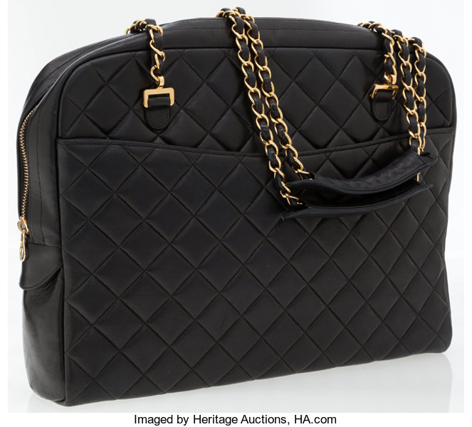 98fd079f3870 Chanel Black Quilted Lambskin Leather Shoulder Bag with Gold