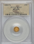 California Fractional Gold: , 1880/76 25C Indian Round 25 Cents, BG-885, R.3, MS63 PCGS. PCGSPopulation (52/85). NGC Census: (6/12). ...