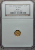 California Fractional Gold: , 1853 50C Liberty Round 50 Cents, BG-428, R.3, MS63 NGC. NGC Census:(7/4). PCGS Population (28/6). ...