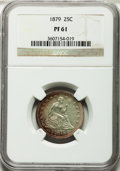 Proof Seated Quarters: , 1879 25C PR61 NGC. NGC Census: (15/240). PCGS Population (27/261).Mintage: 1,100. Numismedia Wsl. Price for problem free N...