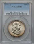 Franklin Half Dollars: , 1952-S 50C MS66 PCGS. PCGS Population (287/2). NGC Census:(293/13). Mintage: 5,526,000. Numismedia Wsl. Price for problem ...