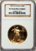 Modern Bullion Coins: , 1993-W G$50 One-Ounce Gold Eagle PR70 Ultra Cameo NGC. NGC Census: (362). PCGS Population (80). Mintage: 34,389. Numismedia...