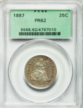 Proof Seated Quarters: , 1887 25C PR62 PCGS. PCGS Population (39/175). NGC Census: (16/189).Mintage: 710. Numismedia Wsl. Price for problem free NG...