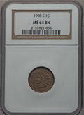 1908-S 1C MS64 Brown NGC. NGC Census: (79/20). PCGS Population (51/3). Mintage: 1,115,000. Numismedia Wsl. Price for pro...