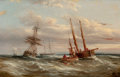 Fine Art - Painting, European:Other , ABRAHAM HULK (Dutch, 1813-1897). Off the French Coast. Oilon canvas. 13 x 20 inches (33.0 x 50.8 cm). Signed lower righ...