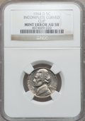Errors, 1964-D 5C Jefferson Nickel Incomplete Curved Clip AU58 NGC. NGCCensus: (1/346). PCGS Population (5/661). Mintage: 1,787,29...