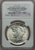 Errors, 1922 $1 Peace Dollar Obverse Struck Thru -- Improperly Cleaned --NGC Details. UNC. NGC Census: (110/169700). PCGS Populati...