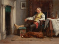 Fine Art - Painting, American:Antique  (Pre 1900), JOHN HENRY DOLPH (American, 1835-1903). Resting by theFireplace. Oil on canvas. 9 x 12 inches (22.9 x 30.5 cm).Signed ...
