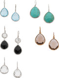Estate Jewelry:Earrings, A GROUP OF MULTI-STONE, SILVER GILT, SILVER EARRINGS, IPPOLITA. Theincludes a pair of earrings featuring faceted pear-shape... (Total:5 Items)