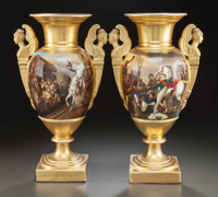 A PAIR OF EMPIRE-STYLE GILT AND PAINTED PORCELAIN VASES WITH SCENES OF NAPOLEON III 20th century 17 inches high