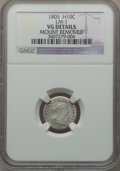 Early Half Dimes, 1805 H10C V-1, LM-1, R.4 -- Mount Removed -- NGC Details. VG. NGCCensus: (1/21). PCGS Population (5/49). Mintage: 15,600. ...