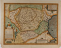 "Books:Maps & Atlases, [Antique Map] Hand-Colored Map: ""Daciarum, Moesiarum Que, VetusDescriptio"" (Romania and Bulgaria). 21"" x 16"" on laid paper...."