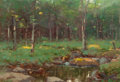 American:Regional, JOSEPH H. GREENWOOD (American, 1857-1927). A Pond in theWoods, 1892. Oil on panel . 8 x 12 inches (20.3 x 30.5 cm).Sig...