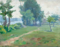 American:Impressionism, CLARA SACKETT (American, b. 1859). Landscape Along the Seine,France, 1894. Oil on canvas . 10 x 13 inches (25.4 x 33.0 ...