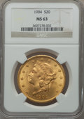 Liberty Double Eagles: , 1904 $20 MS63 NGC. NGC Census: (73185/40653). PCGS Population(54229/34928). Mintage: 6,256,797. Numismedia Wsl. Price for ...