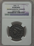 Large Cents: , 1835 1C Head of 1836 -- Environmental Damage -- NGC Details. XF.NGC Census: (14/166). PCGS Population (5/75). Mintage: 3,8...